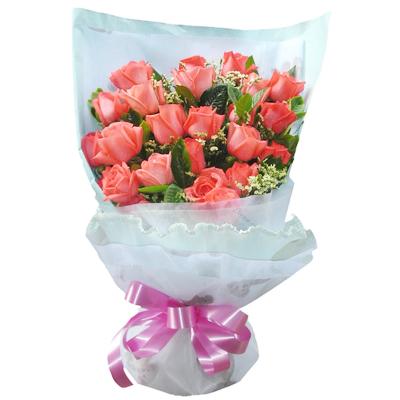 21枝粉玫瑰、水晶草、栀子叶